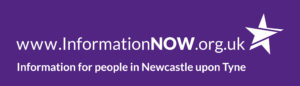InformationNOW logo www.informationnow.org.uk. Image has a purple background with white text. To the Right of the website address there is an image of a white star. The caption underneath the web address is 'Information for people in Newcastle upon Tyne'