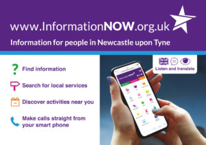 InformationNOW promotional postcard with image of InformationNOW on a mobile phone